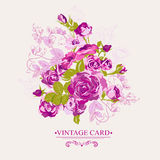 Vintage Floral Card with Roses Stock Photo