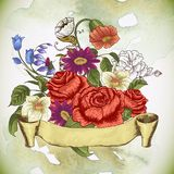 Vintage floral card with roses and wild flowers Stock Images