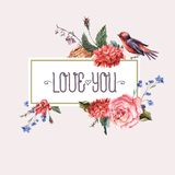 Vintage floral card with roses and wild flowers Royalty Free Stock Photo