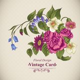 Vintage floral card with roses and wild flowers Royalty Free Stock Images