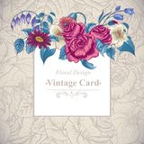 Vintage floral card with roses and wild flowers Royalty Free Stock Image