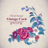Vintage floral card with roses and wild flowers Royalty Free Stock Photography
