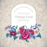 Vintage floral card with roses and wild flowers Stock Photos