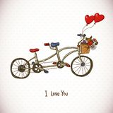 Vintage floral card with Tandem bike Royalty Free Stock Photo