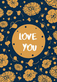 Vintage floral card with text `Love you` Royalty Free Stock Photo