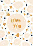 Vintage floral card with text `Love you`. Stock Image