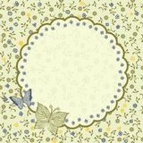 Vintage floral card in vector. Flower floral card background line vintage frame Royalty Free Stock Photo