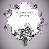 Vintage Floral Card with Violets and Butterflies Royalty Free Stock Images