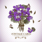 Vintage Floral Card with Violets and Butterflies Stock Photos