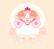 Vintage floral carriage. Invitation -  illustration Royalty Free Stock Images