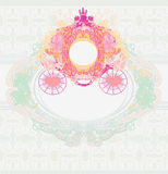 Vintage floral carriage card Royalty Free Stock Image