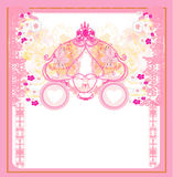 Vintage floral carriage invitation Royalty Free Stock Image