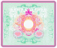 Vintage floral carriage invitation Stock Image
