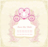 Vintage floral carriage invitation Royalty Free Stock Photos