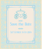 Vintage floral carriage invitation Royalty Free Stock Photography