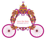 Vintage floral carriage invitation Stock Photos