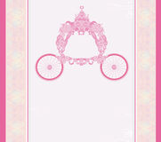 Vintage floral carriage invitation Stock Photography