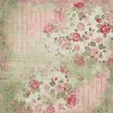 Vintage Floral Collage Background - Damask - Cottage Roses - Pink - Shabby Chic Paper vector illustration