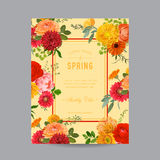 Vintage Floral Colorful Frame for Invitation Royalty Free Stock Photography