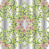 Vintage floral 3d Damask seamless pattern. Drapery silver vector background. Antique Baroque Victorian style colorful ornament with red flowers, green leaves vector illustration