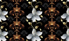 Vintage floral 3d seamless pattern. Vector damask background wal Stock Photo