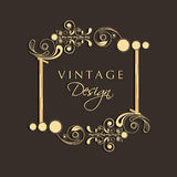 Vintage floral decorated frame with space. Royalty Free Stock Photo