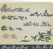 Vintage Floral Decoration Design Set Stock Images
