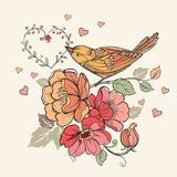 Vintage floral design with hearts and birds. Vector illustration Stock Image