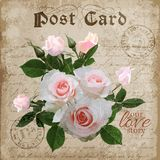 Vintage floral digital love post card. Vector Stock Photos