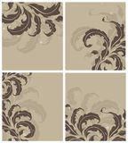 Vintage floral elements. Vintage floral pattens on a brown background Royalty Free Stock Photography