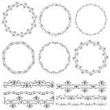 Vintage floral elements, black on white background. template for your design. Used pattern brushes included.  Seamless pattern for. Frames and borders. Vector Stock Photos