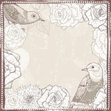 Vintage floral frame with birds Stock Image