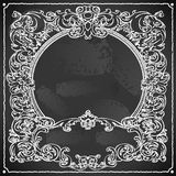 Vintage Floral Frame on Blackboard Royalty Free Stock Images