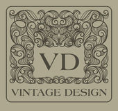 Vintage floral frame with copy space for text in Royalty Free Stock Photos