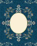 Blue floral invitation card Royalty Free Stock Photos