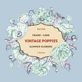 Vintage floral frame with mint  poppies Stock Photos