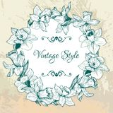 Vintage floral frame with narcissuses Royalty Free Stock Photos