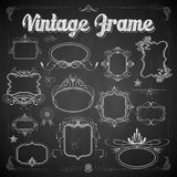 Vintage Floral Frame On Chalkboard Royalty Free Stock Photos