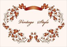 Vintage floral frame with ribbon Royalty Free Stock Photos