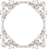 Vintage Floral Frame ROUND stock illustration