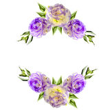 Vintage floral frame from two corners with purple eustoma flower. S, buds and leaves isolated on a white background Royalty Free Stock Image