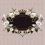Vintage floral frame with white roses Royalty Free Stock Photos