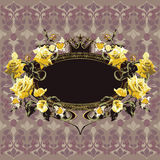 Vintage floral frame with yellow roses Royalty Free Stock Photo