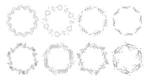 Vintage floral frames. Elements for decoration on white background. Round frames Stock Photo
