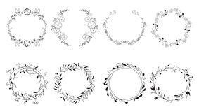 Vintage floral frames. Elements for decoration on white background. Round frames Royalty Free Stock Photography