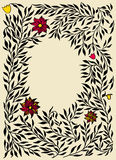 Vintage floral frames.Vector illustration. Frame from black hand drawn branches. Vector illustration Royalty Free Stock Photography