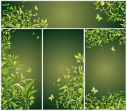 Vintage floral green banners. Collection Stock Photo