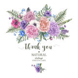 Vintage floral greeting card with anemones Stock Photography