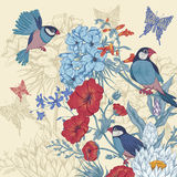 Vintage Floral Greeting Card with Birds and Stock Image