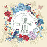 Vintage Floral Greeting Card with Birds and Royalty Free Stock Photos